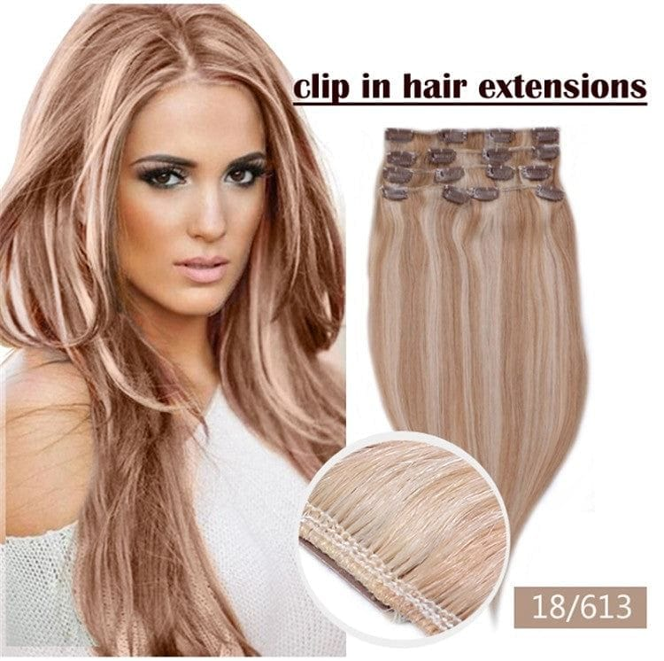 20 Inches 6pcs Brazilian Remy Clips In/on Human Hair Extensions #12/613