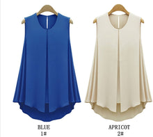 New Women Tops Sleeveless O-neck Casual Shirt in Blue & Apricot