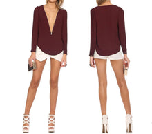 Women's Fashionable V Neck Long Sleeve Chiffon Blouse
