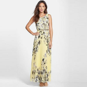 Floral Print Pleated Chiffon Maxi Dress