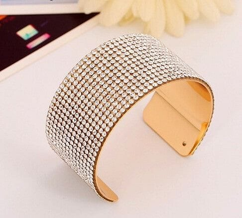 Chic Crystalized Wide Cuff Open Bracelet