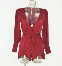 Ariel Red Plunged V-neck Spliced Layered Romper