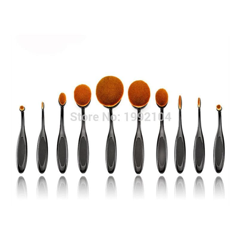 Oval Shape 10pcs Professional Foundation/Powder Brush Kit
