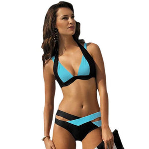 Color Block Push-up Halter Bikini