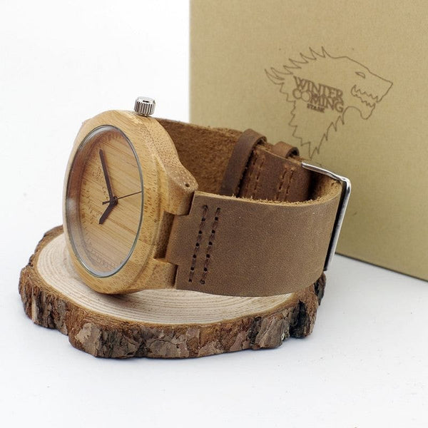 Men's Winter is Coming Wolf Designer Bamboo Wood