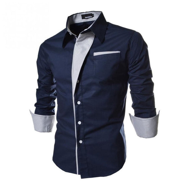 Men's Casual Slim Fit Stripe Lapel Long-Sleeve Shirts