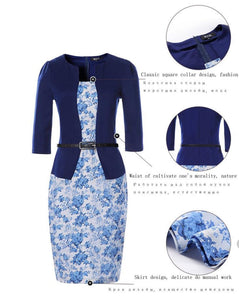 Elegant Faux Two Piece, 3/4 Length Sleeve Pencil Dress