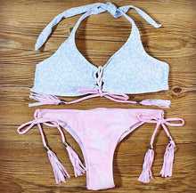 Laced-up front Halter Bikini top/String side Bikini bottom