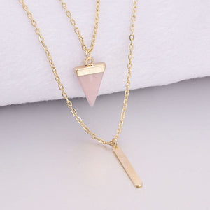 Arrow Point Multi Layer Bar & Faux Stone Pendant Necklace