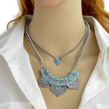 Antique Ethnic Style Multilayer Necklace with Turquoise Collar