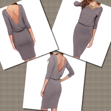 Smokey Grey Backless Dress