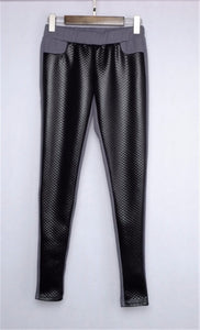 Faux Leather Winter Knitted Leggings