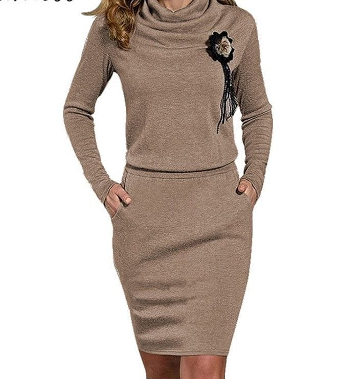 Sarah Pullover Cowl Neck Sweater Dress