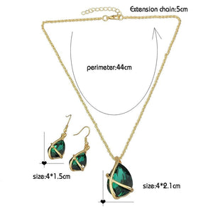 Emerald Green Crystal Drop Pendant & Earring Set