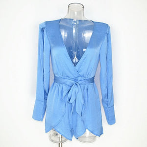 Ariel Ice Blue Plunged V-neck Spliced Layered Romper