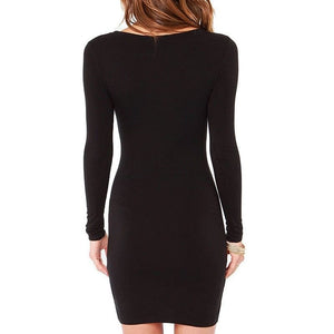 Ella Solid Black Bodycon Dress
