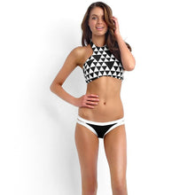 High neck Padded Geometric Print Halter Bikini set