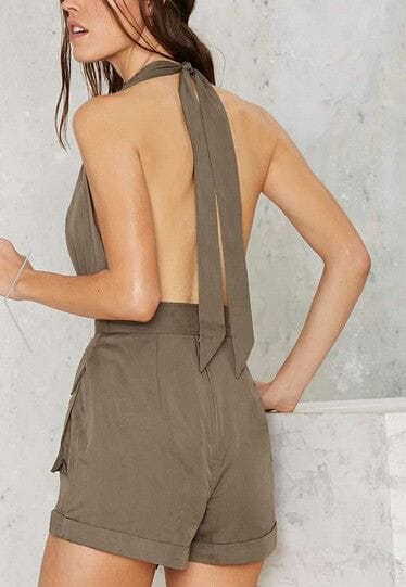 Travel On The Wildside Deep V-neck Halter Romper