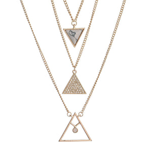 Bailey Triangle & Faux Stone Multi Layer Pendant Necklace