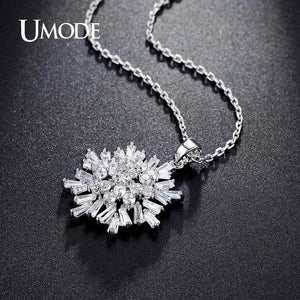 Umode Rhodium/White Gold  Simulated Diamond Pendant Necklace