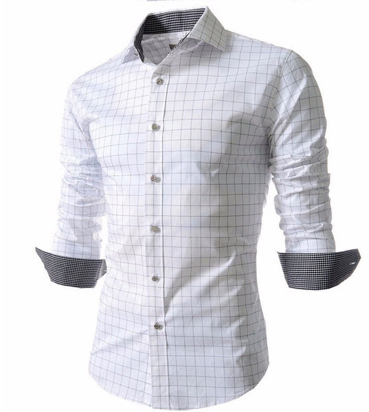 Men's Stylish Checkered Slim Fit Long Sleeve Dress Shirt