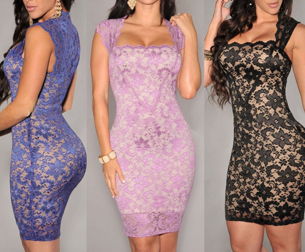 Illusion Lace Short Bodycon Party Dress