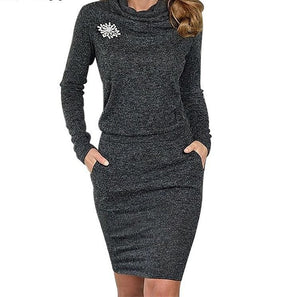 Sarah Pullover Cowl Neck Grey Sweater Dress