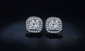 Cece Classic Princess Cut Halo Stud Earrings