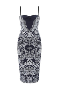 Off The Top Faux Lace Print Evening Dress