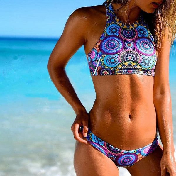 High-neck Push up Top/Matching  Bikini Bottom