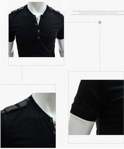 Short Sleeve Military style Henley Shirt
