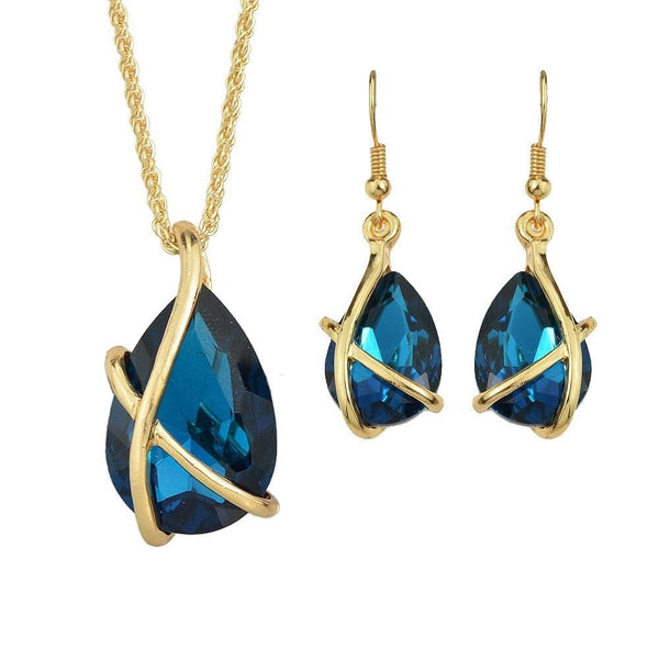 Sapphire Crystal Drop Necklace & Pendant/Earring Set