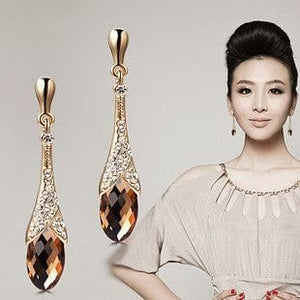 Trendy Crystal Gold Plated Drop Earrings