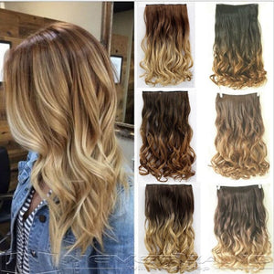 "24"" Curly Wavy Hair Extension 3/4 Full Head Clip in Ombre Hairpiece"