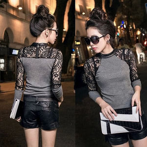 Lace Long sleeve slim fit knit top with leather crew neck