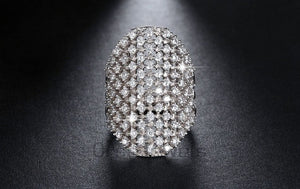 Lexi Pave Platinum Plated Cocktail Ring