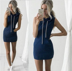 Sporty Pullover Sleeveless Hoodie Dress