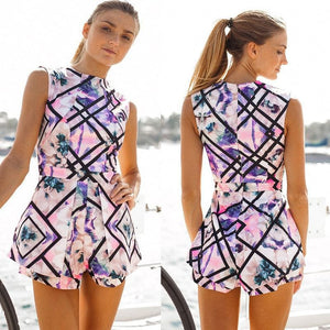 White Pink & Purple Floral Print Romper