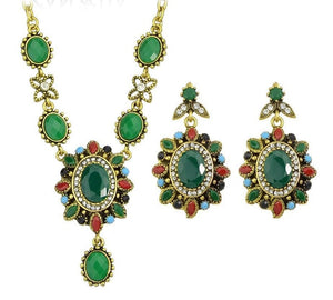 Colorful Acrylic and Rhinestone Flower Necklace/Drop Earrings