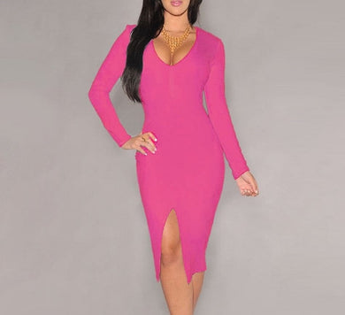 Penelope Pink Plunged Neck Bodycon Dress