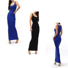 Solid Racer Back Tank Maxi Dress