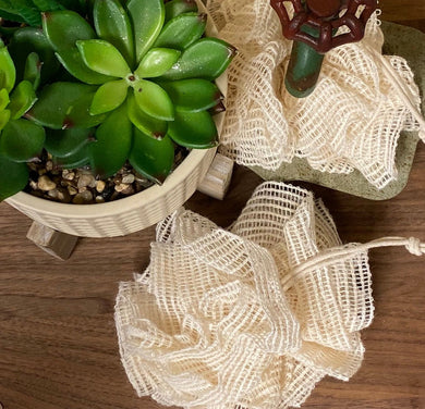 Exfoliating Natural Ramie Fiber Mesh Pouf ~ Soap Saver