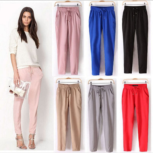 Hot Sale! New Casual Women Drawstring Elastic Waist Harem Pants