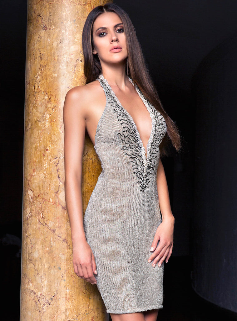 Alba Painted Short Dress Baccio Couture