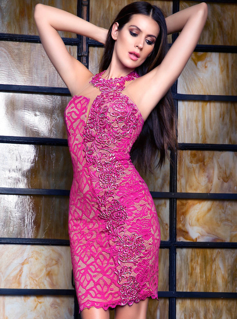 Esther Painted Lace Short Dress Baccio Couture