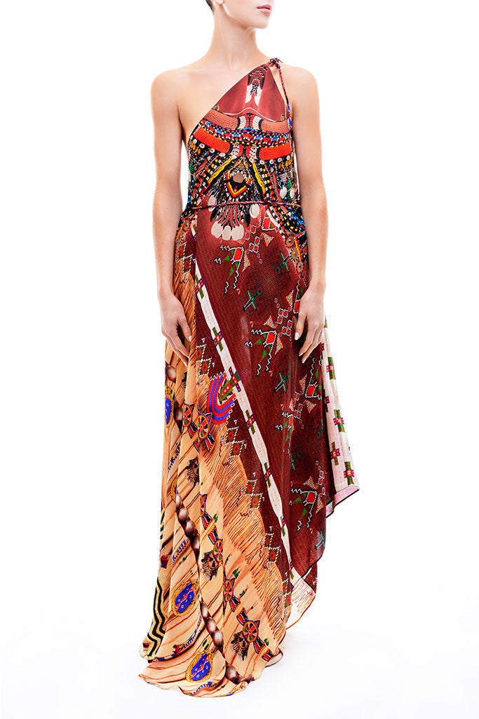 3 Way Navajo Marsala Parides Maxi Dress