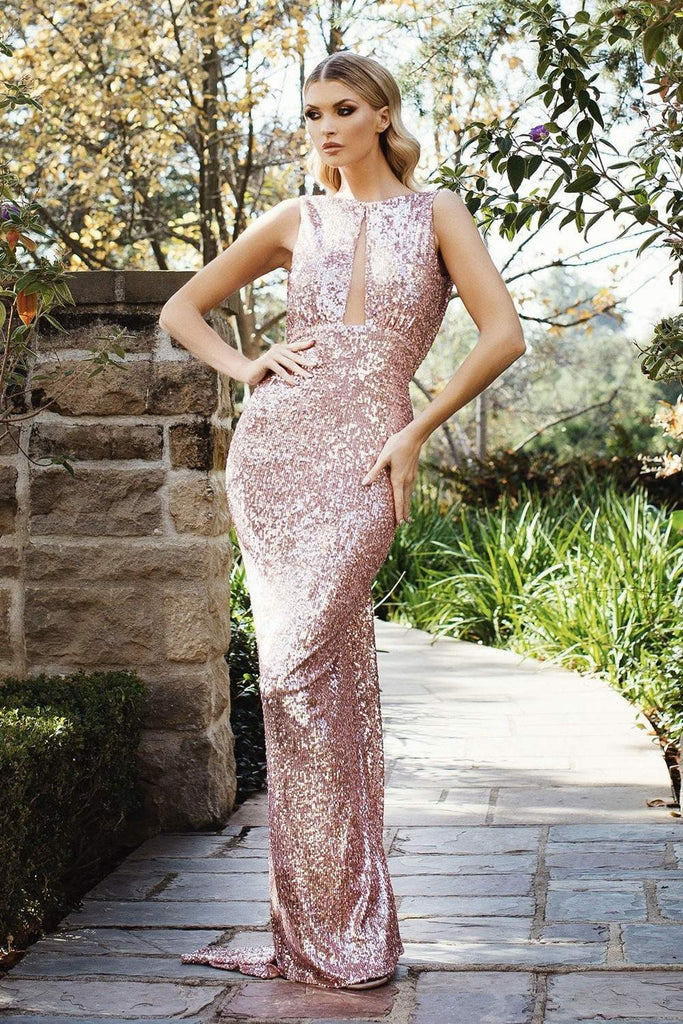6965 NICOLE BAKTI SEQUIN BACKLESS BODYCON GOWN