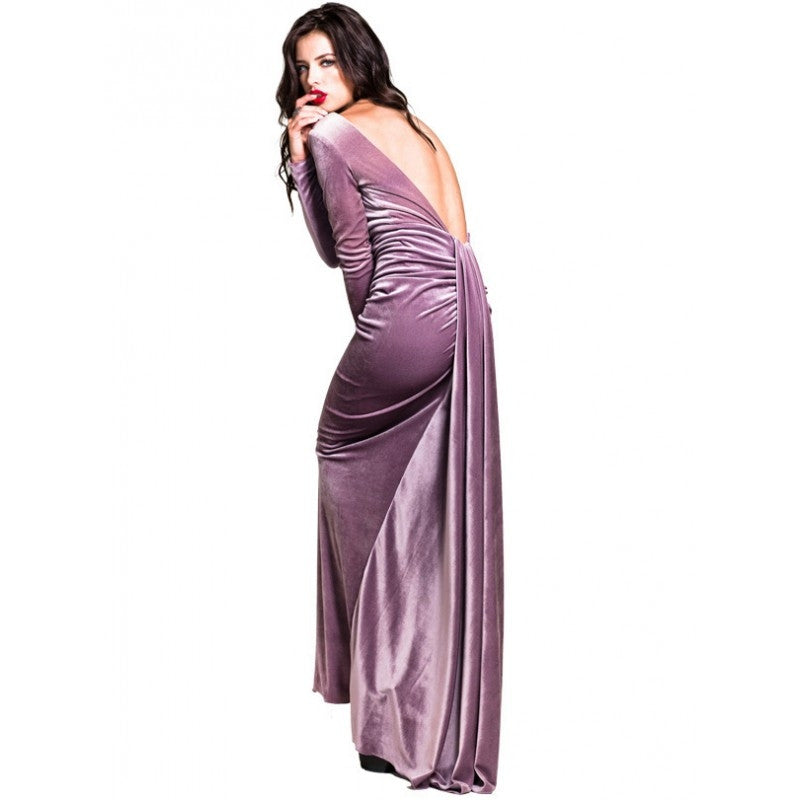 Nicole Bakti Lavender Velour Gown with Open Back