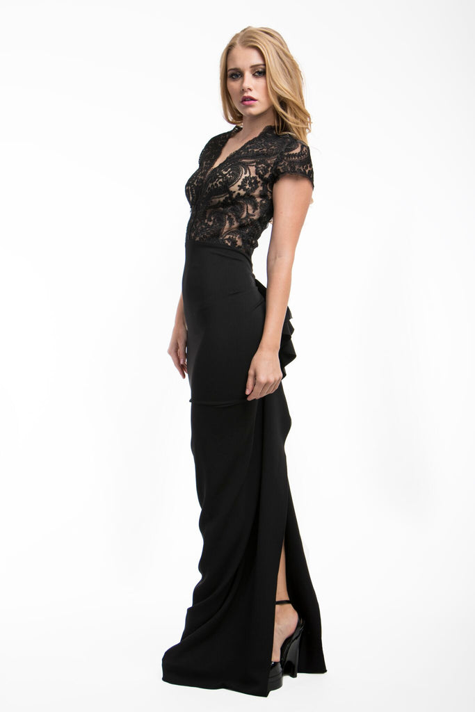Nicole Bakti Black Open Back Ruffled Back Gown