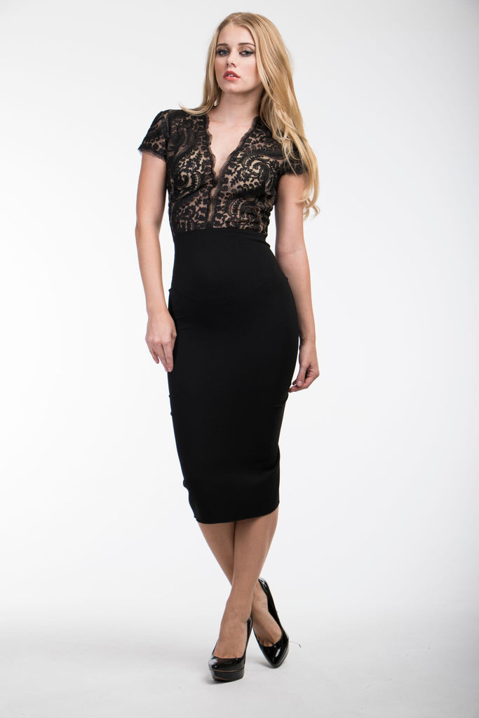 Nicole Bakti 465 Black Lace Cocktail Dress